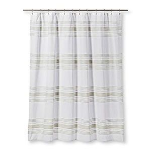 Threshold Shower Fabric Shower Curtain White Green